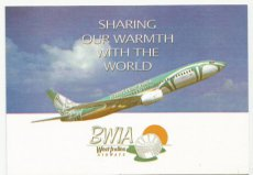 Airline issue postcard - BWIA West Indies B737-800