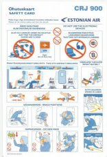 Estonian Air Canadair CRJ 900 safety card