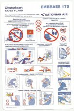 Estonian Air Embraer 170 safety card