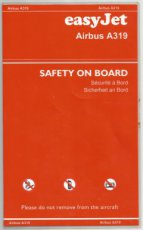 Easyjet Airbus A319 safety card