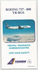 Tarom Boeing 737-800 YR-BGS safety card