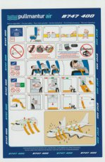 Pullmantur Air Boeing 747-400 blue safety card